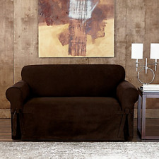 Sueded suede twill slipcover by sure fit Sofa CHOCOLATE  slip cover