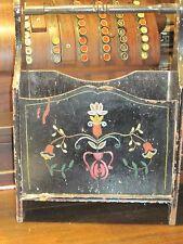 Folk art painted magazine caddy primitive black laquer paint layers