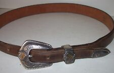 Tony Lama Leather Belt 30 Brown Detachable Silver Colored Heart Belt Buckle