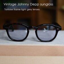 Vintage Johnny Depp sunglasses tortoise acetate frame light grey lens UV400 46mm