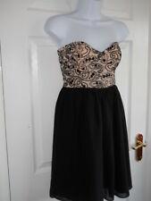 Ladies Black Beige Motel Rocks Lined Strapless Lace Polyester Dress Size 12 (M)