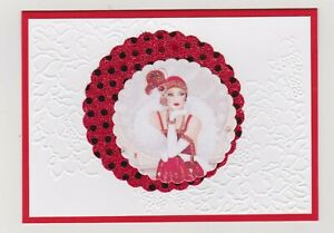 Blank Handmade Greeting Card ~ ANY OCCASION with GLAMOROUS LADY IN CIRCLES