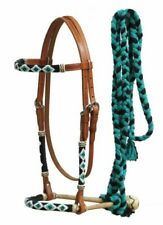 Western Leather Bosal Headstall  Bridle w Teal Beaded Overlays & Mecate Reins