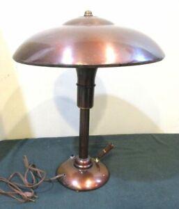 Vtg. 1930s Metal Desk Lamp, Faries Mfg Co., With bakelite Pen Holder