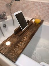 Wooden Bath Caddy Tray with Wine Holder, Tablet / Book Support and Candles