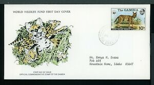Gambia Scott #341 FIRST DAY COVER WWF Serval Cat FAUNA $$ TH-1