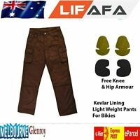 Motorcycle Protective Brown Cotton Denim Reinforced Aramid Fabric Biker Jeans LF