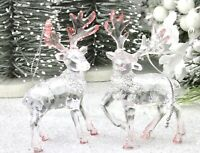 GISELA GRAHAM CHRISTMAS CLEAR PINK ACRYLIC STAG WTH GLITTER SCARF DECORATION X 2