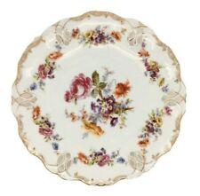Ancien Allemande Dresden Porcelaine Réticulé Plaque Gilded Floral Bleu Couronne