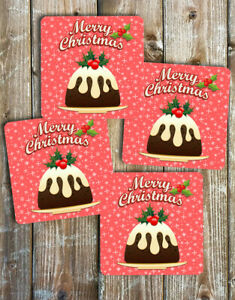Christmas Pudding Drink Coasters Set of 4 Non Slip Neoprene
