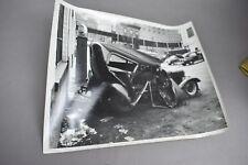 Antique Car Crash Accident Photograph White Rose Gas Pump Studebaker Sign
