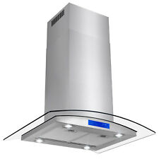 """30"""" Stainless Steel Island Mount Range Hood with Tempered Glass Touch Panel"""