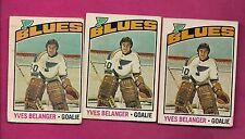 3 X 1976-77 OPC  # 168 BLUES YVES BELANGER GOALIE ROOKIE CARD  (INV#6491)