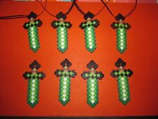 MINECRAFT Inspired Birthday SWORD Party Favors Lot of 8 Necklaces Beads Creeper