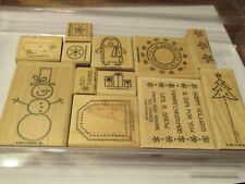 "Stampin Up ""Punch Pals"" Wood Stamp Set, Winter, Snowman, Christmas, Penquin"