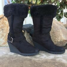 American Eagle Womens 10 Black Faux Fur Suede Wedge Heel Boots