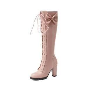 Womens Sweet Bow Knot Lace Up Knee High Riding Boots Block Heels Shoes Plus SIZE