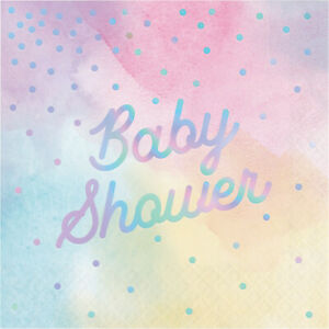 16 x Pretty Pastel Iridescent Baby Shower Party Napkins Girl or Boy Unisex