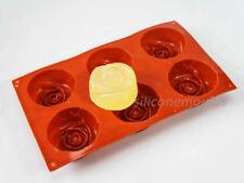 6 Cella grandi Deep Rose Silicone Sapone da Bagno Torta Stampo Cottura Pan-rendere le barre 125 G