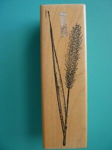 Single Cattail Reed Plant Rubber Stamp
