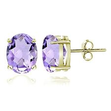 Gold Tone over Sterling Silver Amethyst 7x5mm Oval Stud Earrings