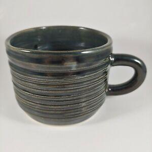 HANDMADE Signed Dark Gray Blue Green Rustic Striped Pottery Coffee Mug Cup 12oz