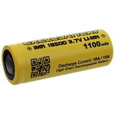 Rechargeable FLAT TOP IMR 18500 3.7V LI-MN 1100mAh 15A HIGH DRAIN Battery