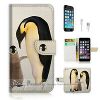 ( For iPhone 7 ) Wallet Case Cover P0545 Penguin Family