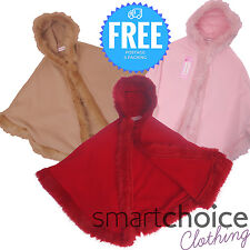 Girls Ponshow High Quality Pink, Red & Brown Design Furry Fleece Wool Ponshow
