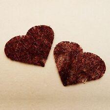 24 coeurs en abaca bordeaux. Décoration de mariage