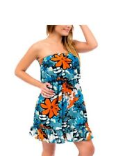 Women's Dress Floral Print Strapless Hawaiian Dress, S