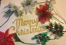 Lot Of Vintage Christmas Picks Sign Glitter Plastic Poinsettias Holly 1940's