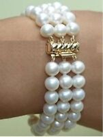 Charming 3 row white AAA south sea pearl bracelet 7.5-8inch 8-9mm 14k MARKED