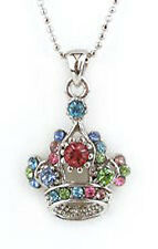 New Silver Tone Crystal Crown Charm Pendant Necklace in Gift Box
