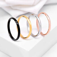 2MM Thin Stainless Steel Women Girls Plain Band Knuckle Stacking Ring Size 3-10