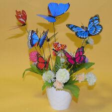 10pcs Garden Vase Home Lawn Decoration 3D Butterfly On Sticks Art Insert Magic #