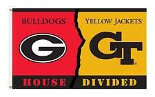 Georgia Georgia Tech House Divided Flag 3'x 5'   2 Eyelets Grommets 1 Sided