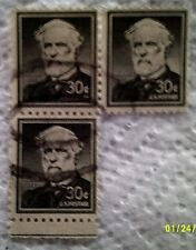 1955 Scott 1049 Robert E. Lee three used and cancelled 30 cent stamps off paper