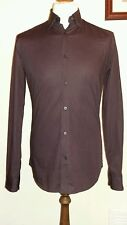 Z ZEGNA Shirt Bordeaux / Black Cotton Long Sleeved Size uk 15.5 / 39  RRP - £175