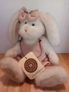 Boyds Bears Plush pink overalls pink headband with bow and flower