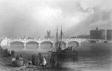 Ireland LIMERICK WELLESLEY BRIDGE SAINT MARY CATHEDRAL, 1839 Art Print Engraving