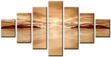 Gruppo 7 Dimensione totale 160x90cm Grande Tela Parete Arte Digitale Stampa Hyde BEIGE / ORO