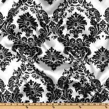 "15 Yards 60"" Damask Printed Satin Fabric 100% Polyester Charmeuse Draping 45ft"