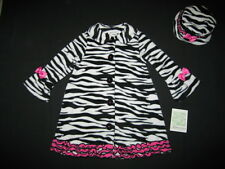 "NEW ""ZEBRA Pink Ruffle"" Coat Jacket & Hat Girls 5 Fall Winter Clothes Kids Set"