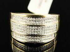 10k per Uomo Gialla Oro, Taglio Rotondo Anello Fidanzamento Matrimonio 12 mm .65