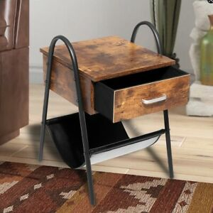 24in Industrial Nightstand End Table with Drawer for Bedroom Living Room Rustic