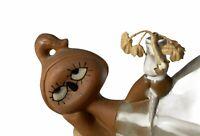 MidCentury Modern Pottery Girl Figurine Flower Glazed Clay Stoneware Japan UCTCI