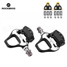 Rockbros Road Bike Clipless Pedals For SPD-SL CR-MO Steel Axle Pedals With Cleat
