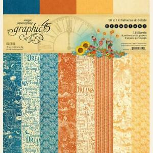 "Graphic 45 Dreamland - 12x12"" Paper Pad Patterns & Solids Orange Blue Alice"