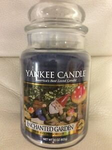 Yankee Candle Enchanted Garden Large Jar 22oz NEW Blue Floral